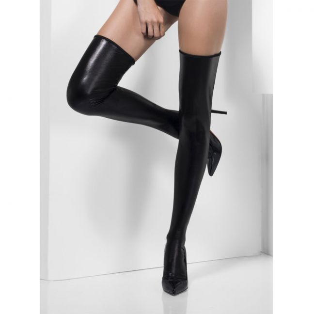 Fever Wetlook Hold-Ups Strømper