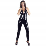 Black Level Lakk Jumpsuit med Krave