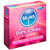 Skins Dots & Ribs Kondomer 4 stk