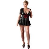 Cottelli Wetlook Kjole med Snører Plus Size