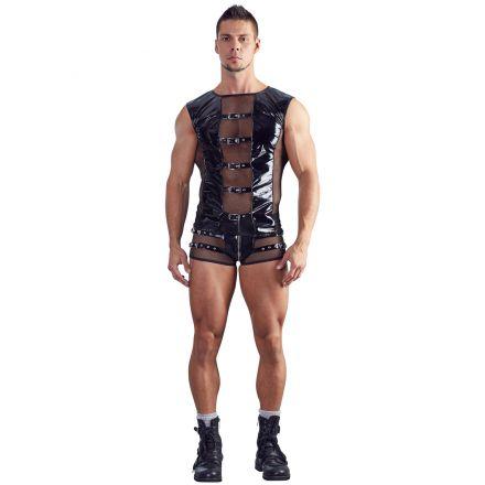 Black Level Lakk T-Shirt med Netting Menn