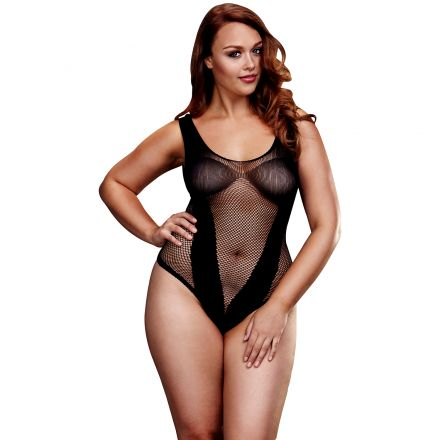 Baci Fishnet Jacquard Teddy Plus Size