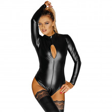 Noir Handmade Wetlook Bodystocking med Glidelås