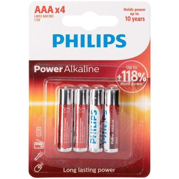 Philips LR03 AAA Alkaline Batterier 4 stk.  1