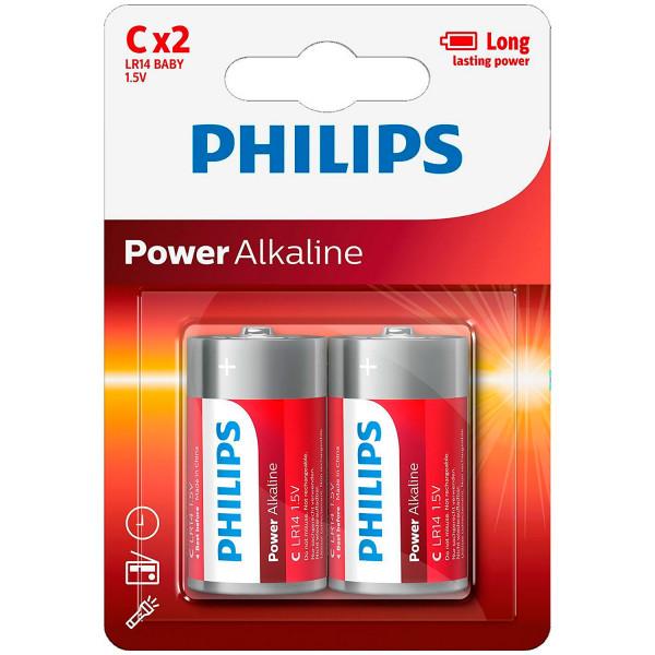 Philips LR14 C Alkaline Batterier 2 stk.  1