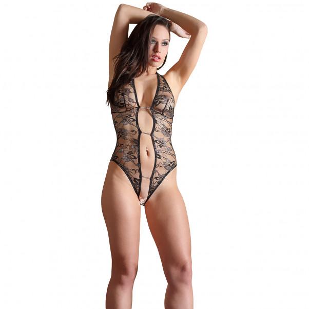 Abierta Fina Blonde Bodystocking produkt på modell 3