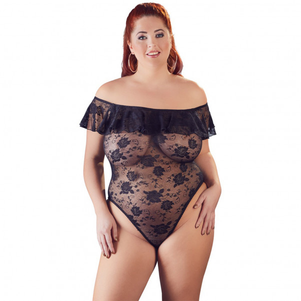 Cottelli Carmen Plus Size Bodystocking med Blondekant  1