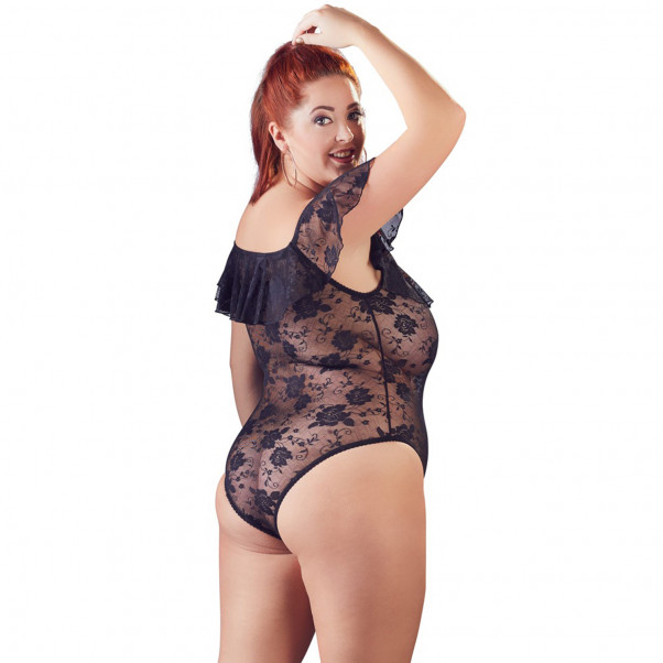 Cottelli Carmen Plus Size Bodystocking med Blondekant  2